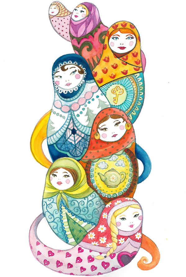 Russian Dolls - Gouache