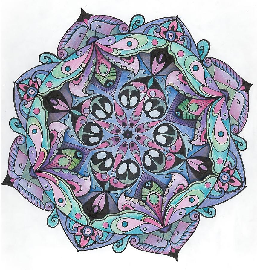 Mandala papillons violets