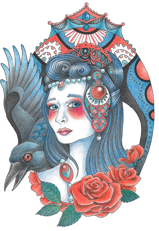 The Crow Princess - Color Pencils