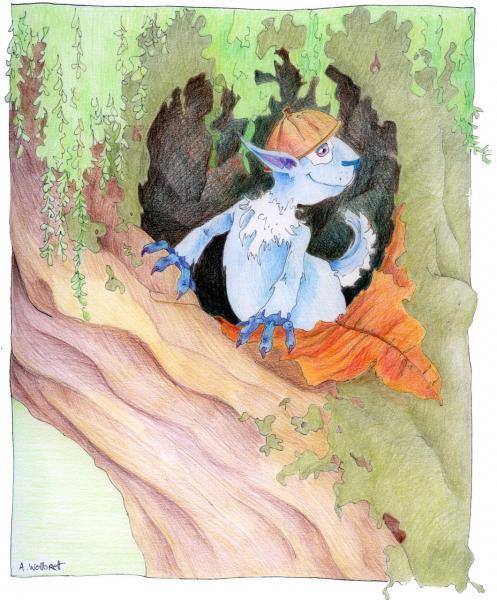 The Blue Squirrel - Color Pencils