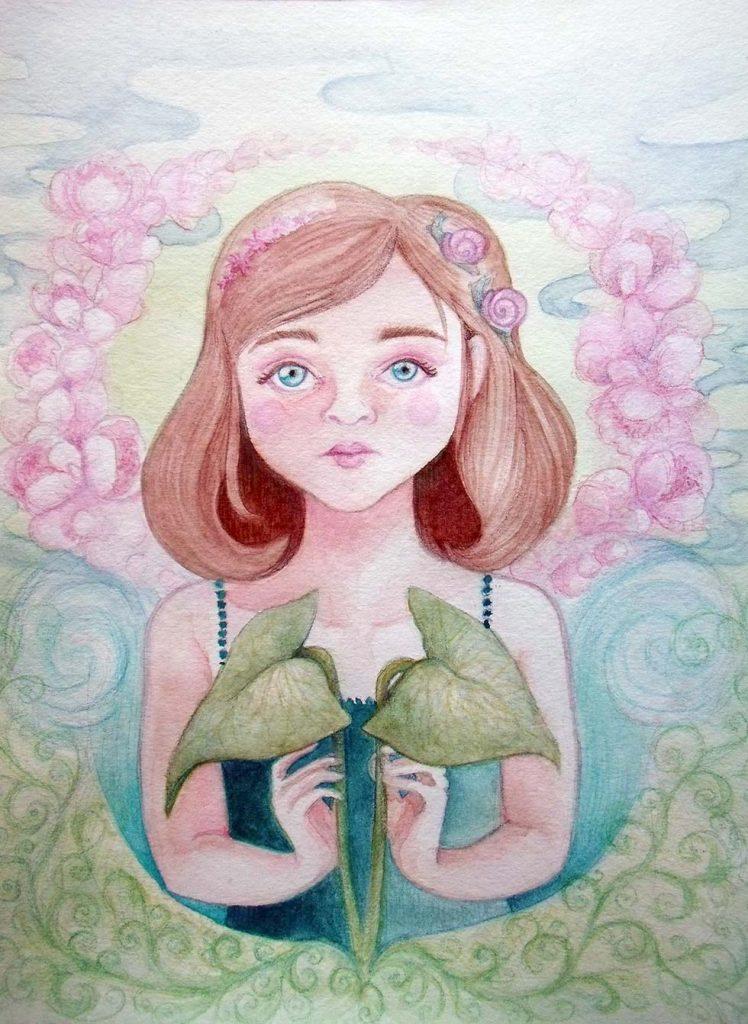 Fillette spatiphilum – Watercolor