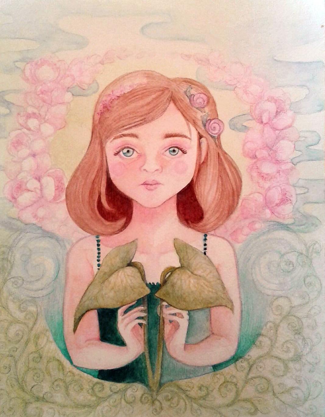 Fillette spatiphilum - Watercolor